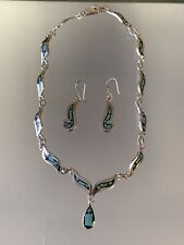Sterling Silver Mexico Turquoise And Resin Drop Necklace And Earring Set