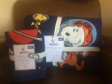 POTTERY BARN KIDS Glow in the Dark SNOOPY Space TWIN Quilt & EURO Sham - NEW