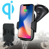 Qi Wireless Car Charger Dock Windshield Dashboard Mount Holder for Mobile Phone