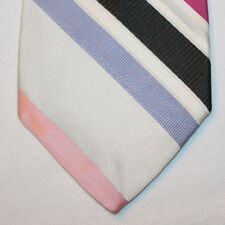 NEW City of London Silk Neck Tie Gray, Pink, Blue, Black & White Stripes 1522