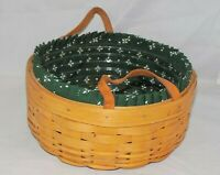 Medium Round Darning w/ Green Traditions Liner & Protector Longaberger Basket