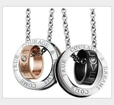His Her Matching Set Titanium Love Couple Rings Pendant Necklace Stone Gift E17
