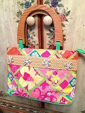 Lilly Pulitzer Purse Bag Tote Wood Handles Seashells White Label BERMUDA BAG