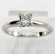 Anillo de compromiso diamante solitario 14K blanco oro VVS1 princesa brillante