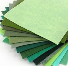 "15 - 9""X12""  Green Colors Collection - Merino Wool blend Felt Sheets"