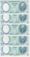 Chile banknote P. 151c 50 Pesos 1981, Dealers lot of 5 pcs, UNC, We Combine