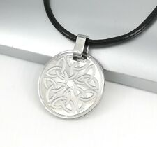 Silver Stainless Steel Irish Gaelic Celtic Knot Pendant Black Leather Necklace