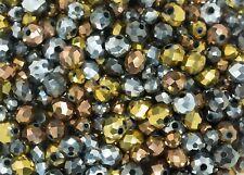 Set misto di perline in cristallo di vetro color bronzo, oro, peltro e (g5q)