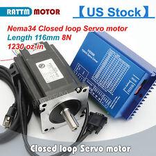 【USA Stock】CNC Kit HSS86 Hybrid Driver+Servo Motor Nema34 8N.m Closed Loop 116mm