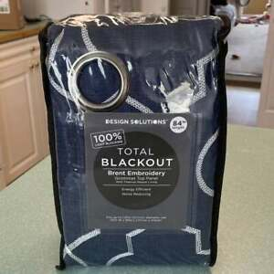 """NEW Design Solutions Brent Embroidered Navy Blackout Thermal Curtain Panel 84"""""""