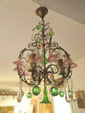 Lustre-cage a pampilles,fleurs et boules.Chandelier,lampe,luminaire.Années 60-70