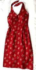 RALPH LAURE COTTON HALTER NECK SUMMER RED PENCIL DRESS IN SIZE 0