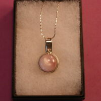 """925 Silver Pendant With Pink M. O. P. 5.7 Gr. 5 x 2 Cm.Wide In Box 16"""" In.Chain"""