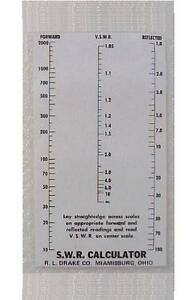 RL Drake SWR Calculator Reproduction  for W4 Wattmeter