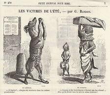 Gravure ancienne 1880 les victimes de l'été  G. Randon  XIXème