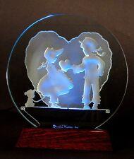 Valentine in glass, Tom Sawyer-style kids, with LED light base