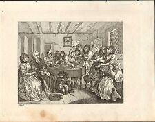 1818 HOGARTH GEORGIAN COPPER ENGRAVING ~ A HARLOT'S PROGRESS Plate 6