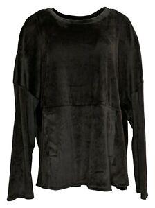 Cuddl Duds Women's Sz L Tall Plush Velvet Fleece Pullover PJ Set Black A384548