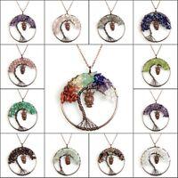 Natural Amethyst Labradorite Garnet Chip Beads Tree of Life Owl Pendant Necklace