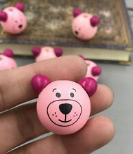 10pcs Pink of Colors Wooden Round Bear Loose Beads Craft Beads Beaded 28mm