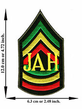 Jah Army Reggae Rasta Rastafari Jamaica Sign Logo Applique Iron on Patch Sew
