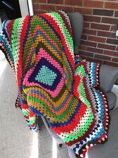 Vintage Granny Rainbow Crochet Afghan Quilt 60 x 64 Square Throw Stripes lgbt