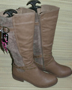 TG WOMENS BROWN ZIP LEATHER KNEE HIGH BOOTS SIZE:6/39 NEW