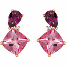 14K Rose Gold Rhodolite Garnet & Pink Topaz & .03 CTW Diamond Stud Earrings