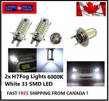 2x H7 6000K White 5630 33 SMD LED 12V Auto Car Fog Light Headlight Bulbs Bright