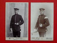 2 x Kabinettfoto Soldaten Musiker Grenadier Bautzen Crimmitschau um 1910 ( 63702