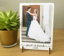 8x6'' personalised love photo quote plaque wedding valentines anniversary NEW