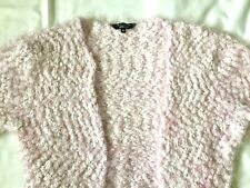 """New Look Candy Pink & White Fluffy Bolero Shrug - size S approx 30"""" bust"""