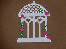 "1 white gazebo with pink flowers 3 1/4"" x 4"" die cuts"