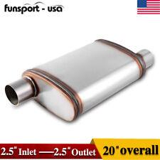 """Universal Offset 2.5"""" Inlet-Outlet Race Muffler Exhaust/Resonator Silencer 409SS"""