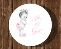 12 It's A Girl Princess Baby Shower Stickers,vintage,round,labels,favors,pink