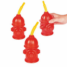 Fire Hydrant Cups With Straws - Firefighter Party Supplies & Favors - 8 Pieces