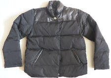 COACH Black Down Puffer Coat jacket with Leather Accents - Medium