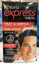 Restoria Express For Men Restoring Dye Cover Grey Hair Color Cream DARK BROWN