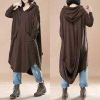ZANZEA UK 14-24 Women Oversized Loose Batwing Sleeve Hooded Maxi Dress Kaftan