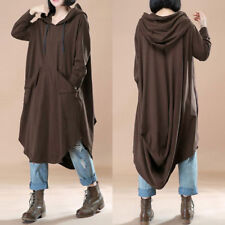 ZANZEA UK 14-24 Women Oversized Loose Batwing Sleeve Hooded Maxi Dress Kaftan