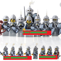 8PCS Minifigures Medieval Castle Kingdoms White Crown Knights Rider Solider lego