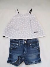 HUDSON BABY GIRL DENIM SHORTS AND WHITE FLORAL TANK SET SIZE 9 MONTHS