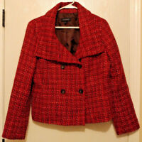 Womens Talbots Red Plaid Check Tweed Jacket Size 10 Wool Coat Blazer