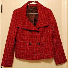 Womens Talbots Red Plaid Check Tweed Jacket Size 10 Wool Coat Blazer