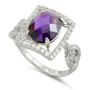 IGI Certified 1.60ct Natural Round Diamond 14K White Gold Amethyst Cocktail Ring