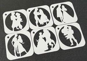 Set of 6pcs Disney Themed Princess and Prince Couple Stencils Airbrush Paint Art