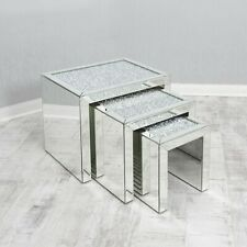 Mirrored Coffee Table Nest of Tables Crushed Crystal Diamond Living Room Bling u
