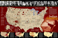 AMERICAN INDIAN COUNTRY National Geographic Historical Wall Map POSTER