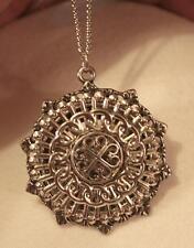 Shiny Fleur de Lis Starburst Layered Swirled Chain Link Silvertone Necklace