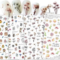 Nail Art Stickers Colorful Flower Animal Design DIY Nail Adhesive Sticker Decor